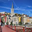 Lyon city with famous red footbridge — Stock Photo