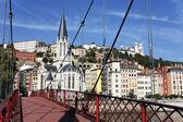 Lyon city with red footbridge — Stock Photo