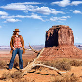 Cowgirl at Monument Valley — Stock Photo