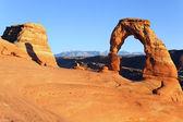 Gün batımında ünlü hassas arch — Stok fotoğraf