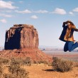 Jump at Monument Valley — Stock Photo