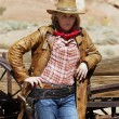 Portrait of beautiful cowgirl — Stock Photo