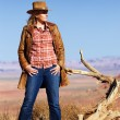Cowgirl in the desert — Stock Photo #14210434