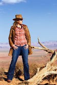 Cowgirl in the desert — Stock Photo