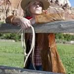 Woman wearing a cowboy hat — Stock Photo
