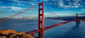 Panoramic view of famous Golden Gate Bridge — 图库照片