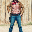 Portrait of bad cowgirl — Stock Photo