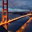 Stock Photo: Golden Gate Bridge and SFrancisco lights