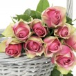 Roses in a Basket — Stock Photo