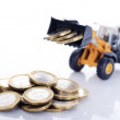 Euro money coins and loader — Stock Photo