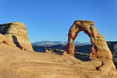 Horizontal view of sunset at Delicate Arch — Stock Photo