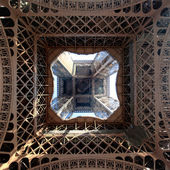 View of the Eiffel Tower from below — Stock Photo
