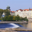 Prague from the river. - Stock Photo
