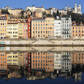 View of Lyon and Saone River — Stock Photo
