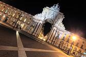 Piazza del commercio a lisbona di notte — Foto Stock