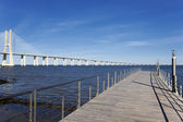 View of the big Vasco da Gama bridge — Stock Photo