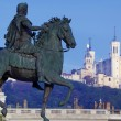 Стоковое фото: Panoramic view of famous statue and Fourviere basilic