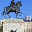 Statue and Fourviere basilic — Stock Photo #18689991