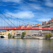 Постер, плакат: View of red footbridge in Lyon