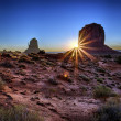 Famous sunrise at Monument Valley — Stock Photo