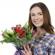 Young woman with bouquet — Photo