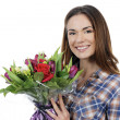 Young woman with bouquet — Foto de Stock