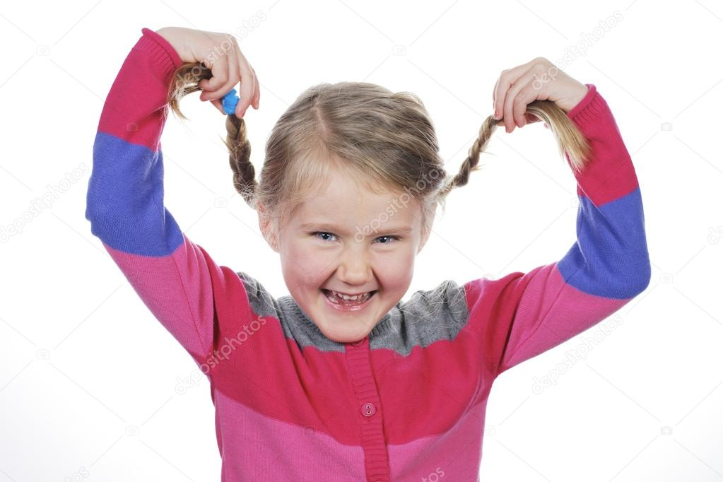 Little girl making funny face on white background — Stock Photo #19817965