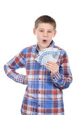 Young boy with euro notes — Stock Photo