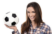 Adult woman with ball — Stock Photo