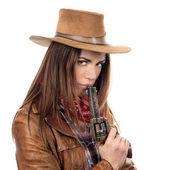 Atraktivní cowgirl s pistolí — Stock fotografie