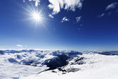 View down on typical Alpine ski resort — Foto Stock