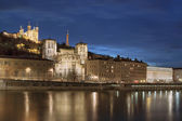 View of Lyon over the Saone river at night — Stock Photo
