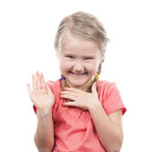 Girl showing her hand up — Stock Photo