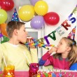 Stock Photo: Two children at birthday party