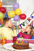 Two children at birthday party — Stock Photo