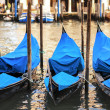 Gondolas at sunset — Stock Photo