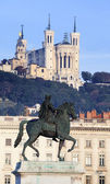 Statue and Fourviere basilic in Lyon — Stock Photo