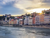 Beautiful sunset at Lyon — Stock Photo