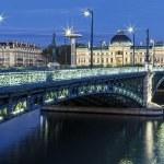 Famous bridge and University in Lyon — Stock Photo