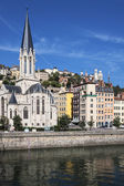 Vertical view of Lyon and Saone River — Stock Photo