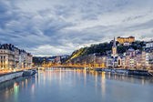 Saone river in Lyon city at evening — Stock Photo