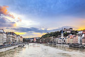 Saone river in Lyon city at sunset — Stock Photo