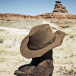 Stock Photo: Boots and hat in front of Mexican Hat