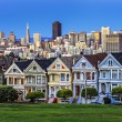 Foto Stock: View from Alamo Square at twilight
