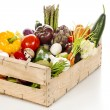 Assortment of fresh vegetables in a crate — Stock fotografie