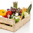 Assortment of fresh vegetables in a crate — Stockfoto