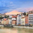 Sunset on Saone river — Stock Photo