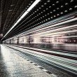 European metro transit vehicle in motion — Stock Photo