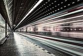 European metro transit vehicle in motion — Stock Photo