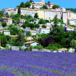 Lavender field and old town of Banon — Stock Photo #27574805
